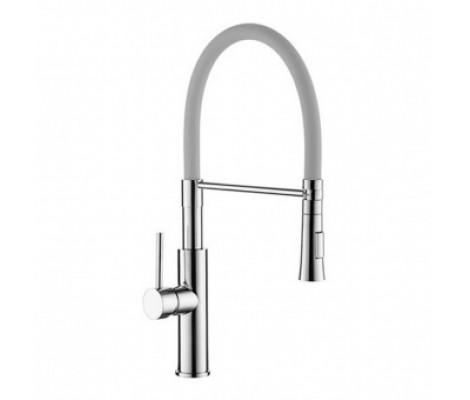 ZERIX LR4097-9 Ø35  кухня c силиконовым изливом (серый+хром)    (10 шт/ящ)