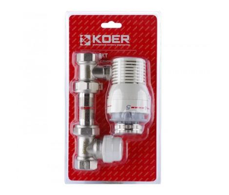 """Прямой комплект радиаторных клапанов (верх, низ, головка) 1/2"""" Koer"""