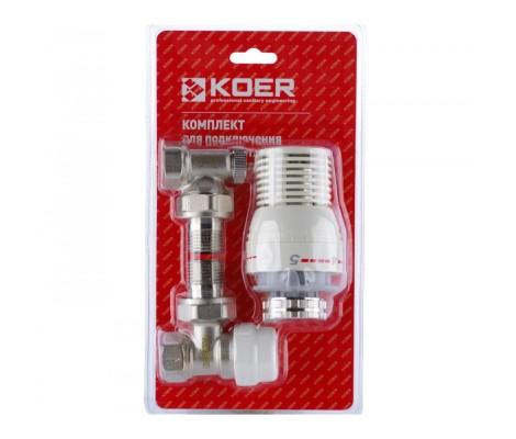 """Угловой комплект радиаторных клапанов верх, низ, головка 1/2"""" KOER"""