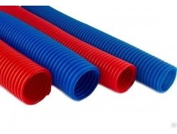 Гофро-рукав  (пешель)      18  (50м.бухта)   синий/красный
