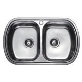Мойка для кухни FRAP 0.8 мм двойная 77*49*19 декор          FD4977T