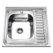Мойка для кухни FRAP 0.6 мм накладная  60*60*16,5 декор           FD66060   (левая)