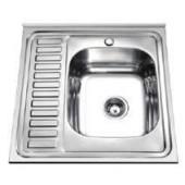 Мойка для кухни FRAP 0.6 мм накладная  60*60*16,5 декор           FD66060R   (правая)