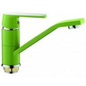 Смеситель для кухни хром F4533  зеленый      (ф35, короткий гусак 15 см, на гайке)    FRAP
