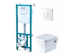 Инсталляционная система  НЕО (унитаз-кнопка хром-сиденье микролифт) (1WH302187)