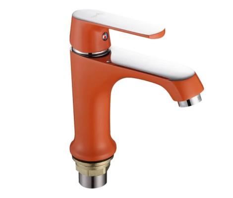 Смеситель для раковины хром оранжевый (Ø35, на гайке) А1032 Faop