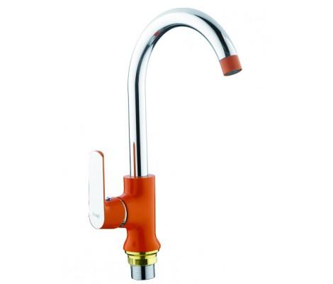Смеситель для кухни хром оранжевый Ø35, высокий гусак, на гайке F4032 FRAP