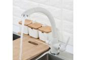Смеситель для кухни белый (Ø40, высокий гусак, на гайке, с подключением фильтра) F4399-8 Frap