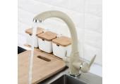 Смеситель для кухни бежевый (Ø40, высокий гусак, на гайке, с подключением фильтра) F4399-20 Frap