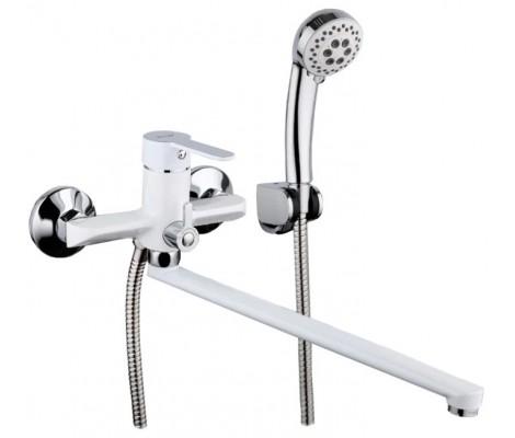 Смеситель для ванны белый Ø35, короткий гусак, европереключатель F2241 FRAP