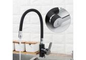 Смеситель для кухни черный (гибкий гусак, на гайке) F4042 Frap