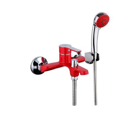 Смеситель для ванны красный (Ø35, короткий гусак) F3243 Frap