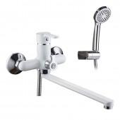 Смеситель для ванны белый (Ø35, длинный гусак 40 см c переключателем на душ) F2231 Frap
