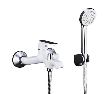 Смеситель для ванны белый Ø35, короткий гусак с переключателем на душ F3231 FRAP