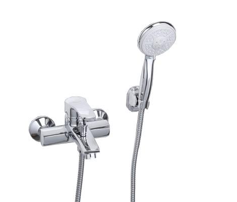 Смеситель для ванны хром (Ø40, короткий гусак с переключателем на душ) F3070 Frap