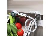 Смеситель для кухни хром (Ø35, вытяжной гусак, на шпильке) F6013 Frap