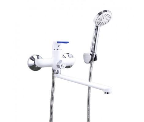 Смеситель для ванны хром белый Ø35, длинный гусак 35 см, европереключатель F2234 FRAP