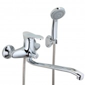 Смеситель для ванны хром (Ø40, длинный гусак 30 см, c евро переключателем на душ) F2201 Frap