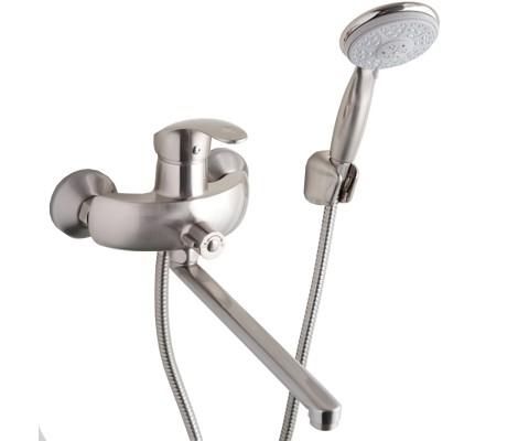 Смеситель для ванны сатин (Ø40, длинный гусак 30 см, европереключатель) F2221-5 Frap