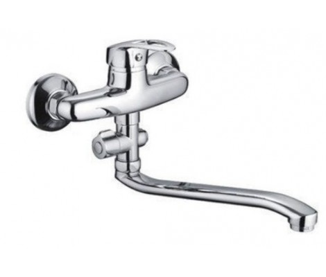 Смеситель для ванны хром Ø35, длинный гусак 30 см с переключателем на душ F2139-В FRAP