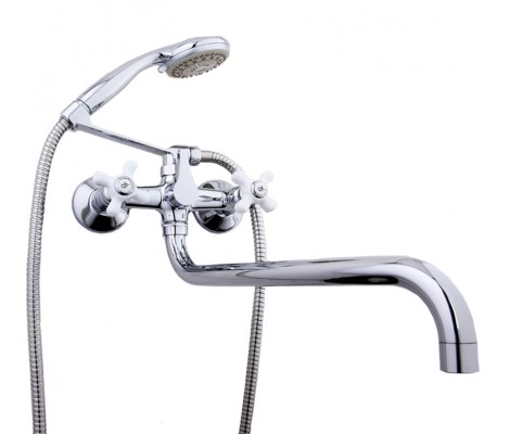 Смеситель для ванны хром (длинный гусак 36 см, европереключатель) F2618 Frap
