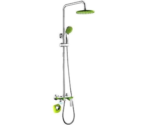Душевая система хром зеленый (смеситель с гусаком, верхний душ, ручная лейка) F2433 Frap