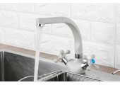 Смеситель для кухни белый высокий гусак, на гайке F5408-8 Frap
