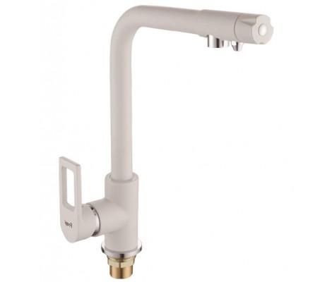 Смеситель для кухни белый (Ø40, высокий гусак, на гайке, с подключением фильтра) F4372-8 Frap