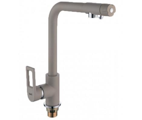 Смеситель для кухни бежевый (Ø40, высокий гусак, на гайке, с подключением фильтра) F4372-20 Frap