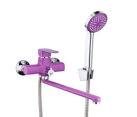 Смеситель для ванны сиреневый (Ø35, длинный гусак, европереключатель) R22302 Frud
