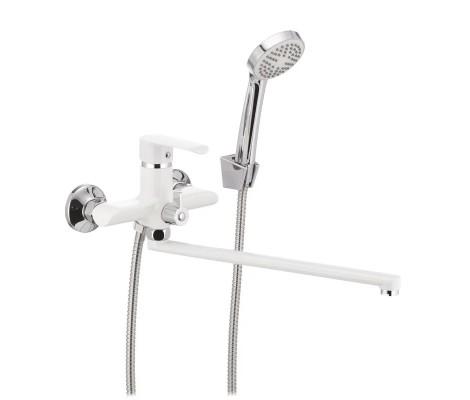 Смеситель для ванны белый (Ø35, длинный гусак, европереключатель) R22301 Frud