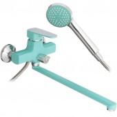 Смеситель для ванны бирюзовый (Ø35, длинный гусак, европереключатель) R22303 Frud