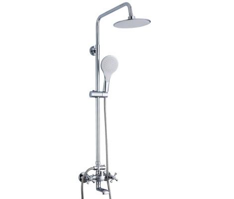 Душевая система хром (смеситель с гусаком, верхний душ, ручная лейка) R24732 Frud