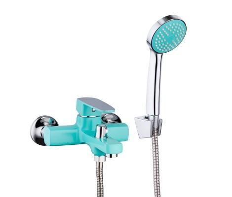 Смеситель для ванны бирюза (Ø35, короткий гусак, европереключатель) R32303 Frud