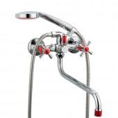 Смеситель для ванны красный (длинный гусак, европереключатель) R22118-10 Frud