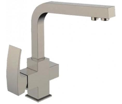 Смеситель для кухни сатин (Ø35, высокий гусак, на гайке, с подключением фильтра) G4307-5 Gappo