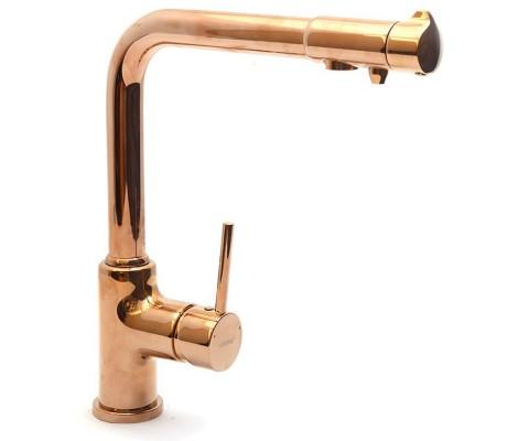 Смеситель для кухни крас.золото  G4390-3  (ф35,высокий гусак, на гайке, с подключением фильтра)  GAPPO