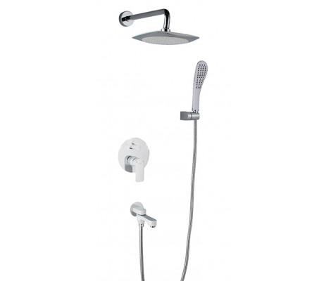 Смеситель встраиваемый для ванной хром с гусаком, ручная лейка, верхний душ G7148-8 GAPPO