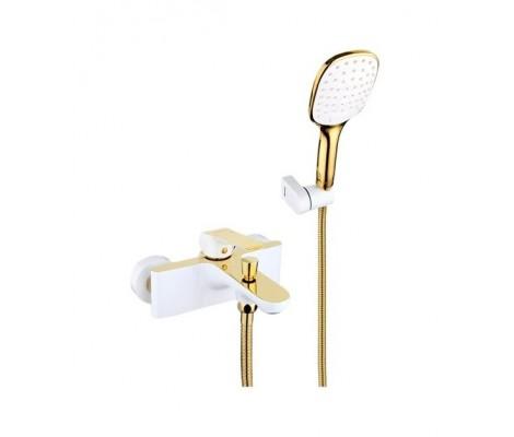 Смеситель для ванны белый золото Ø35, короткий гусак, европереключатель G3080 GAPPO