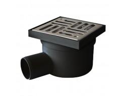 Трап для душевых и ванных комнат    50  боковой 10*10 черный пластик