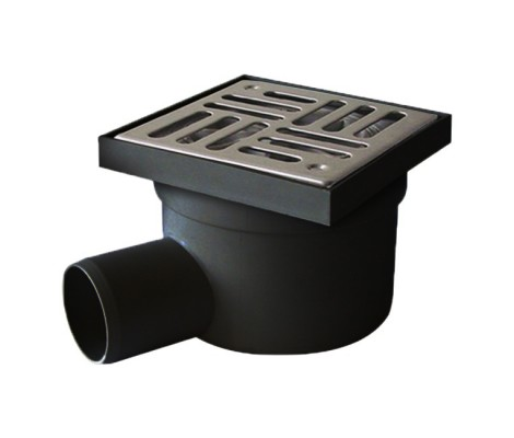 Трап для душа 50 боковой черный (решетка 10*10 нержавеющая сталь)Турция