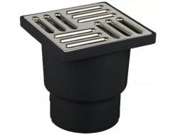 Трап для душевых и ванных комнат 50 низкий (10*10 черный пластмас,нержавеющая сталь)