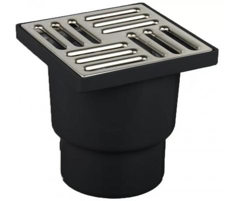 Трап для душа 50 низкий черный решетка 10*10 нержавеющая сталь Турция